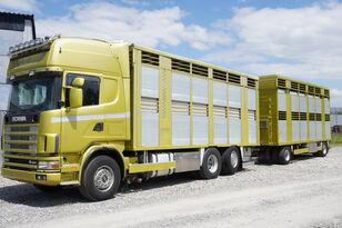 Xe chở gia cầm SCANIA R164 V8 , 6x2 , 2 hydraulic decks , 70m2 , live stock + rơ moóc vận chuyển gia súc