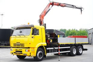 xe tải san phẳng KAMAZ 65117 , 6x4 , Crane Fassi 95 , rotator , box 6m